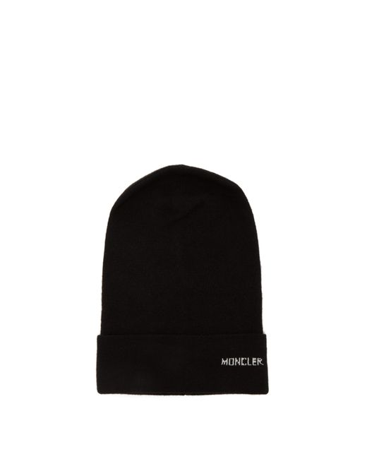 09b58ea0b0b Moncler Logo Cashmere Beanie Hat in Black - Save 5% - Lyst