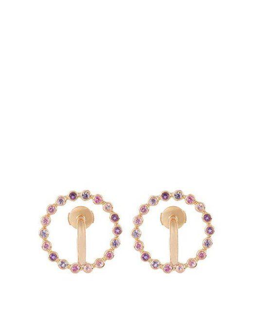 Charlotte Chesnais - Multicolor Saturn Small Sapphire, Amethyst & Gold Earrings - Lyst