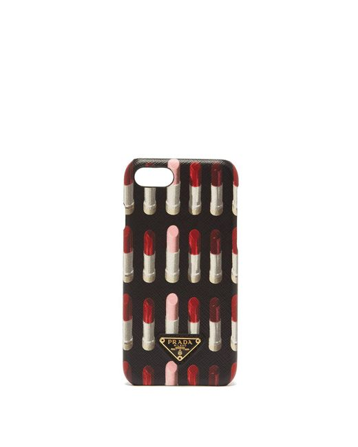 Prada - Black Lipstick Print Leather Iphone® 7/8 Case - Lyst