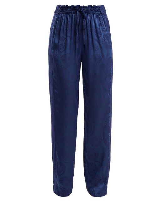 Peter Pilotto - Blue High-rise Floral-jacquard Satin Trousers - Lyst