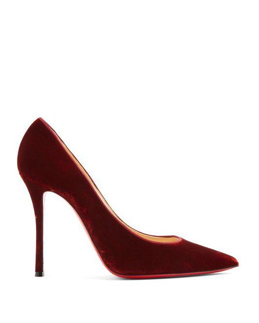 Christian Louboutin - Orange Decoltish 100mm Velvet Pumps - Lyst