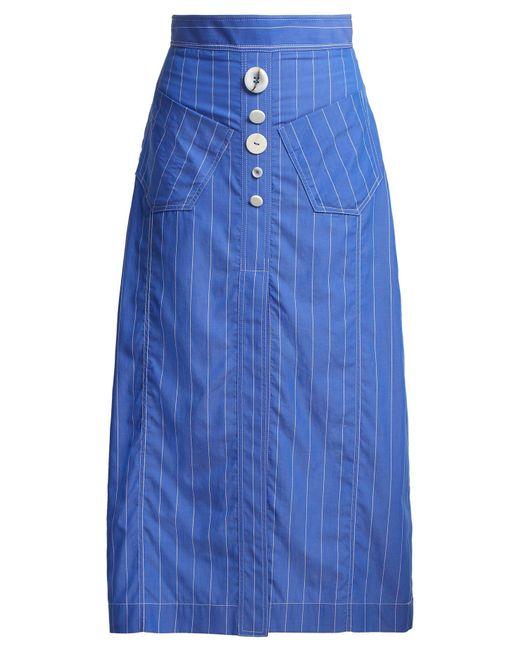 Ellery - Blue Aggie Striped Cotton Midi Skirt - Lyst