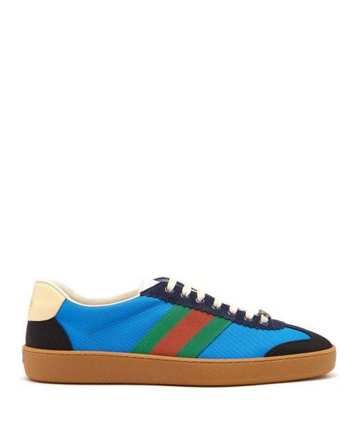 0d6731dd781 Gucci - Blue Web Nylon And Suede Trainers for Men - Lyst ...