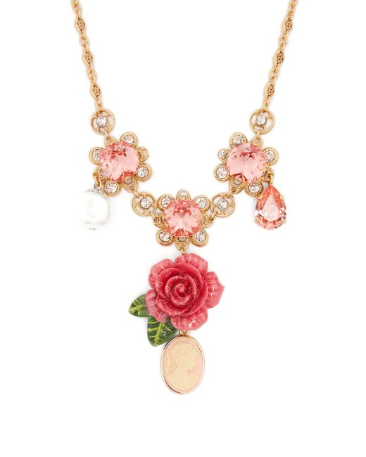 Dolce & Gabbana - Pink Floral, Crystal And Charm Necklace - Lyst
