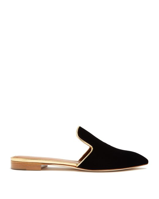 Malone Souliers | Black Marianne Backless Velvet Loafers | Lyst