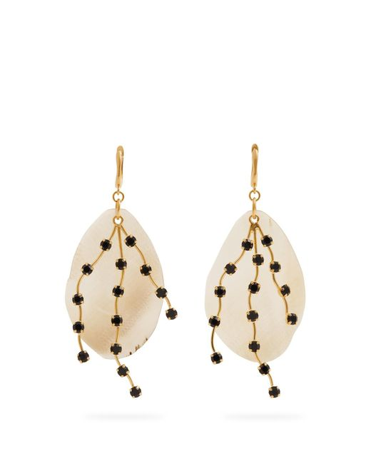 Marni | White Crystal-embellished Leaf Earrings | Lyst