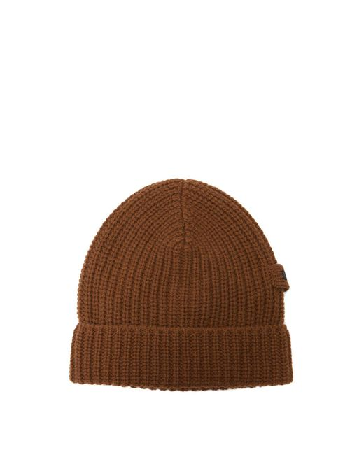 Prada - Brown Logo-embellished Ribbed-knit Cashmere Beanie Hat for Men - Lyst