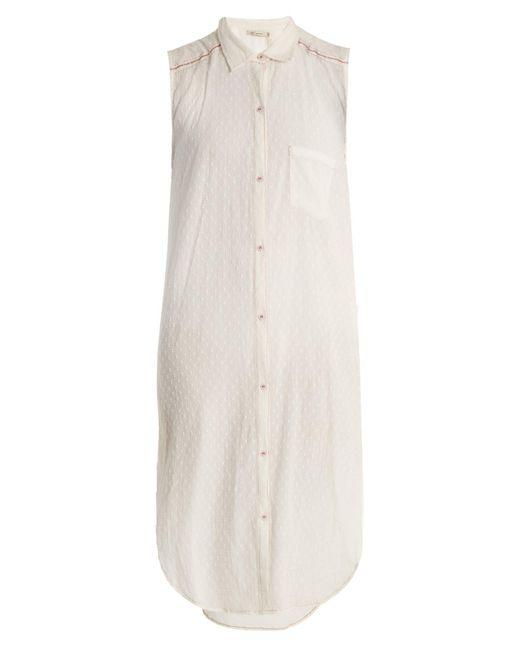 Mes Demoiselles - White Sleeveless Dobby-dot Long-line Shirt - Lyst