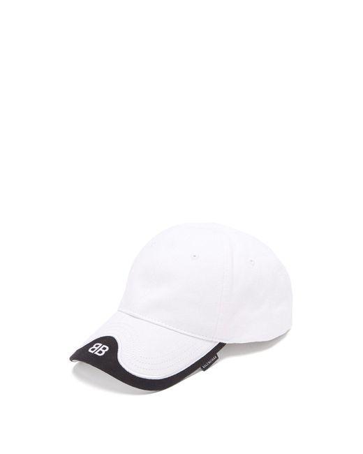 f7b16d02 Balenciaga - White Logo-embroidered Cotton-twill Baseball Cap for Men -  Lyst ...