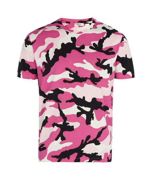Valentino - Pink Camouflage Print Cotton Jersey T Shirt for Men - Lyst
