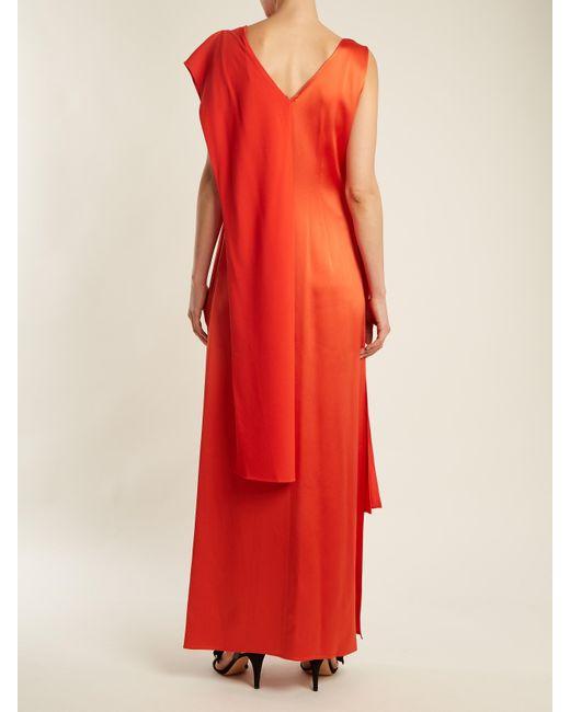 Contrast-panel draped sleeveless satin gown Diane Von F 460ScwOAT