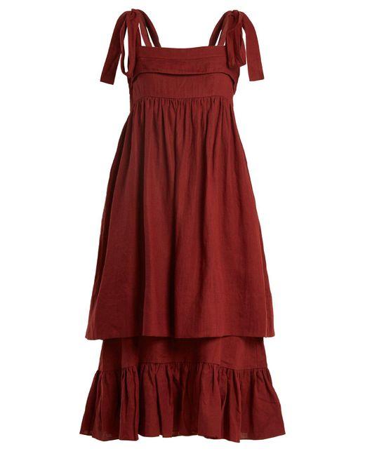 Three Graces London - Red Marianne Sleeveless Linen Midi Dress - Lyst