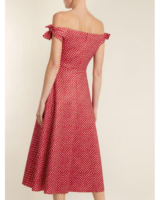 polka dot print off the shoulder dress - Red Saloni 2018 Cheap Sale Buy Cheap Footaction Outlet With Credit Card Sale Hot Sale Explore Online PlXDdqd