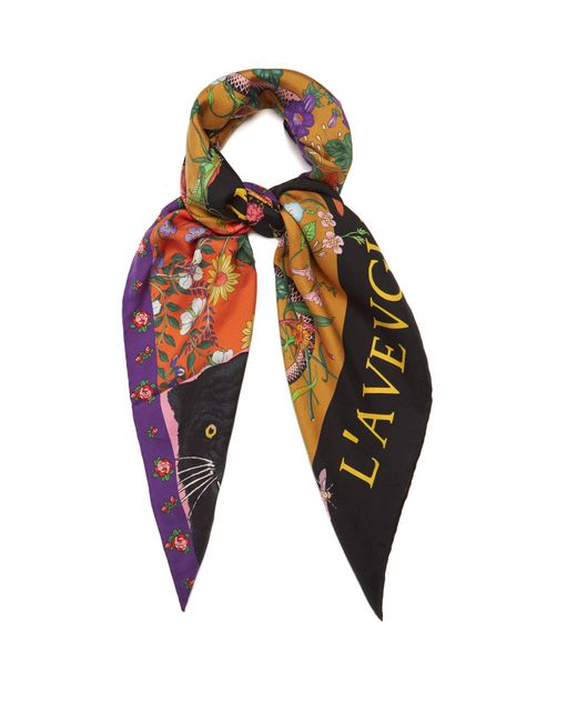 Gucci - Multicolor Patchwork-print Silk-twill Scarf - Lyst