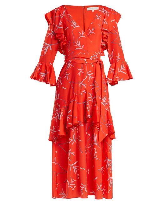 Borgo De Nor - Red Aiana Dragon Print Crepe Dress - Lyst