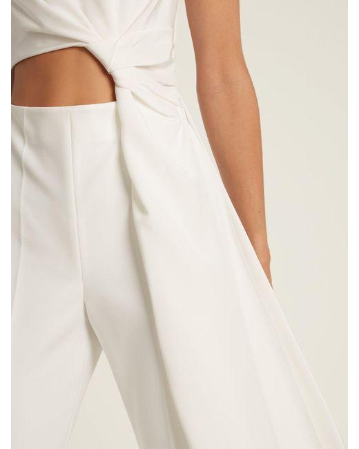7bd6d05ac85 ... Roksanda - White Thurloe Cut Out Knot Front Crepe Jumpsuit - Lyst