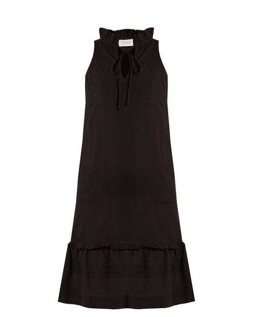 Cecilie Copenhagen - Black Tie-neck Scarf-jacquard Cotton Dress - Lyst