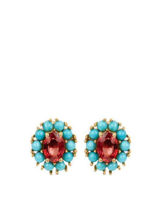 Ileana Makri - Multicolor Sapphire, Turquoise & Yellow-gold Earrings - Lyst