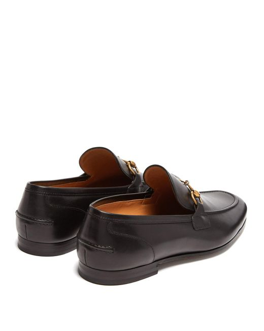 529acf79a67 ... Gucci - Black Jordaan Leather Loafers for Men - Lyst ...