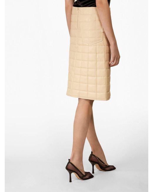 1086e2a3c ... Bottega Veneta - White High Rise Quilted Leather Skirt - Lyst ...