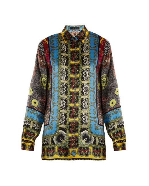 Etro - Multicolor Jungle Print Hammered Silk Satin Shirt - Lyst
