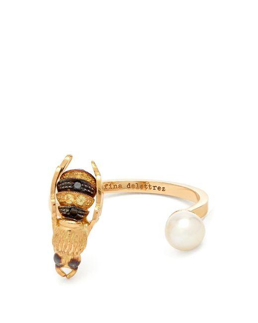 Delfina Delettrez - Metallic Diamond, Pearl & Yellow-gold Ring - Lyst