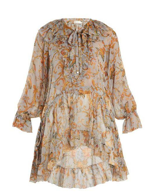 2018 New For Sale Sale Manchester Great Sale Painted Heart floral-print ruffled silk top Zimmermann To Buy Discount Ebay Sale Shop qoanK4CQ