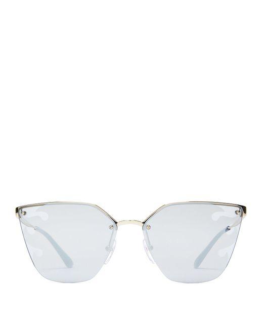 Prada - Black Mirrored Flame Cat Eye Sunglasses - Lyst