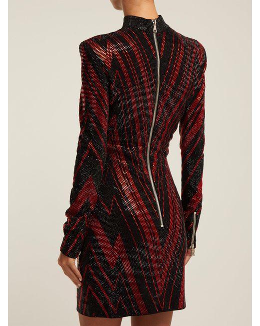 88a05df3 ... Balmain - Black Chevron Stripe Crystal Embellished Mini Dress - Lyst ...