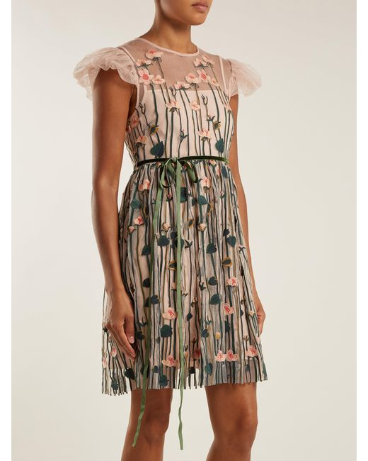 ab81c2070a31 ... RED Valentino - Natural Floral Embroidered Tulle Mini Dress - Lyst ...
