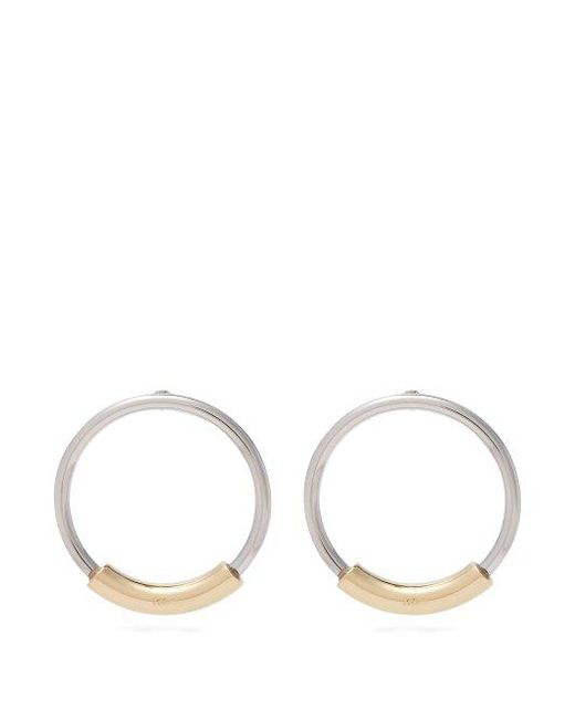 Chloé - Metallic Silver Hoops With Logo-engraved Gold Bar - Lyst