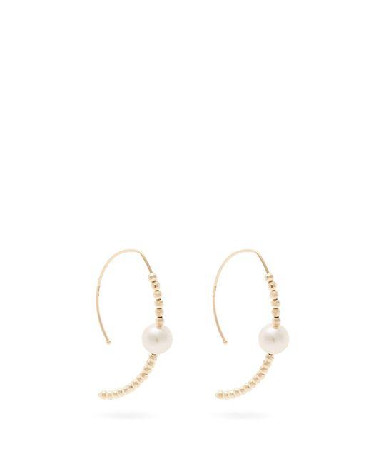 Mizuki - Metallic Marquis Gold And Pearl Earrings - Lyst