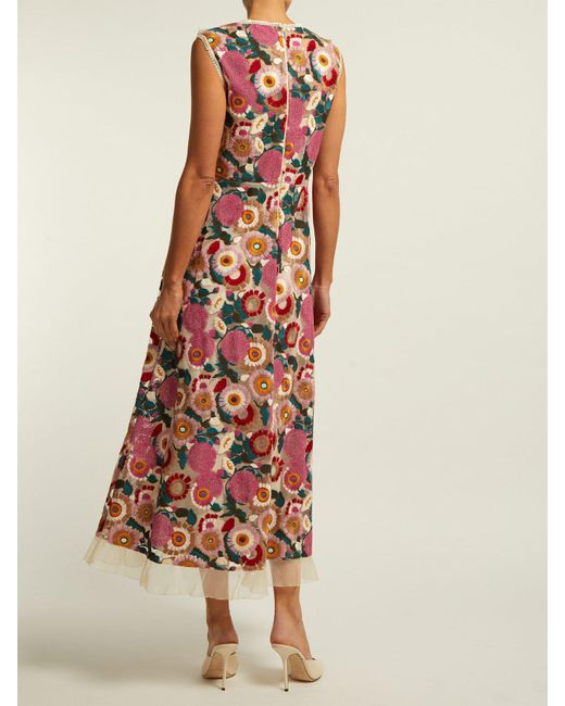 c80a35a845a ... RED Valentino - Pink Floral Lace Midi Dress - Lyst ...