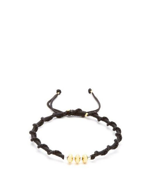 Black Dakini - Metallic Gold-vermeil And Cord Bracelet for Men - Lyst