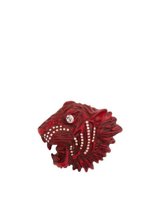 Gucci - Red Tiger Head Crystal-embellished Brooch - Lyst
