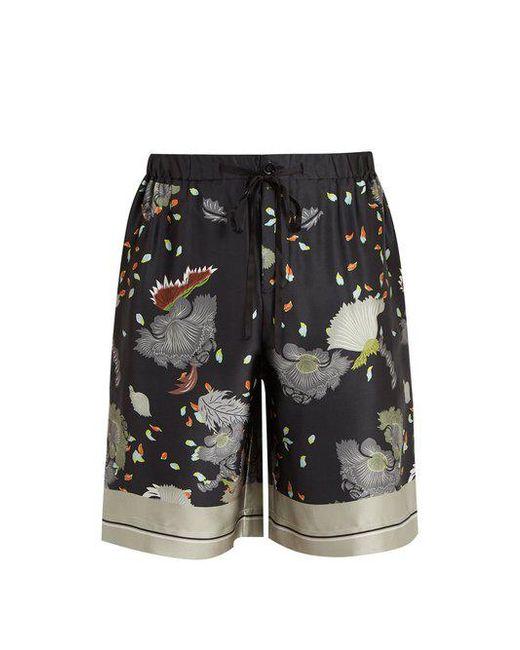 Meng - Black Floral-print Silk-satin Pyjama Shorts for Men - Lyst