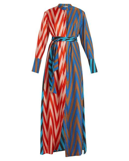 Diane von Furstenberg | Blue Odeon Chevron-print Silk Satin-twill Dress | Lyst