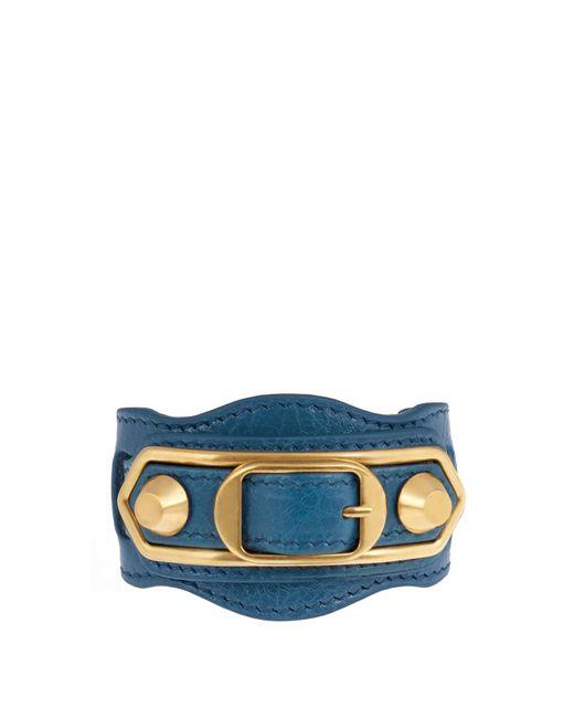 Balenciaga | Blue Classic Metallic Edge Leather Bracelet | Lyst