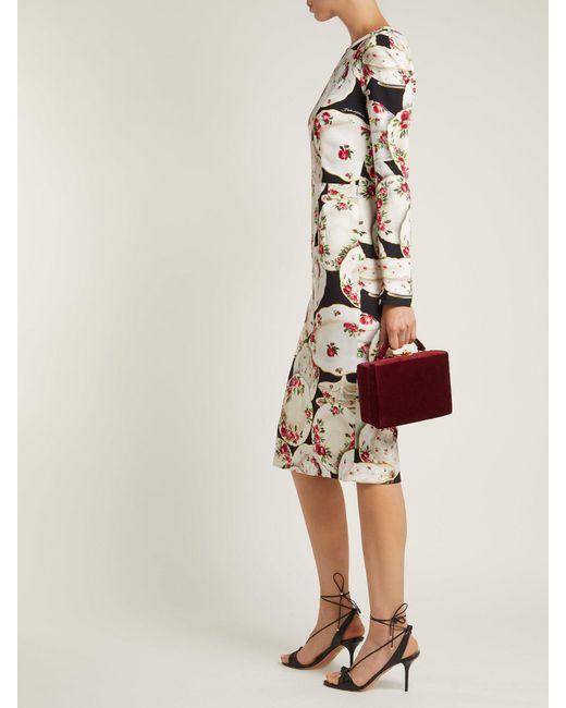 ... Lyst Dolce   Gabbana - Black Plate Print Stretch Crepe Midi Dress ... 15c2d7830