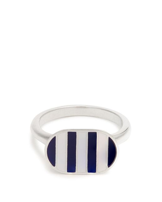 Jessica Biales - Blue Enamel & Sterling Silver Ring - Lyst