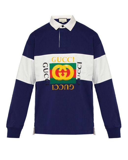 f75686b14f9 Lyst - Polo de rugby en jersey de coton à logo Fake Gucci pour homme ...