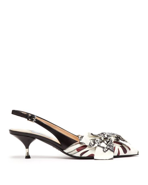 Prada - Multicolor Lipstick-print Slingback Kitten-heel Leather Pumps - Lyst