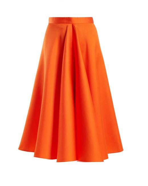 Maison Rabih Kayrouz - Orange Flared Techno & Silk Satin Midi Skirt - Lyst