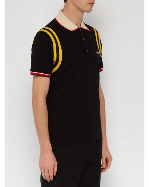 ff388e695d6 ... Gucci - Black Bee Embroidered Cotton Piqué Polo Shirt for Men - Lyst ...