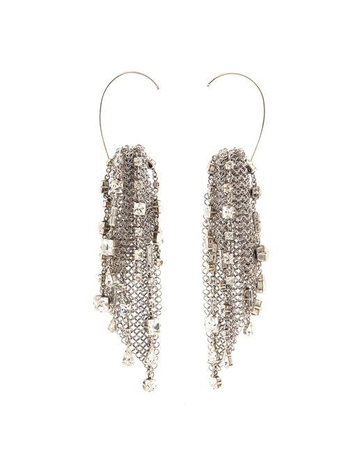 Saint Laurent - Metallic Tassel Drop Clip On Earrings - Lyst