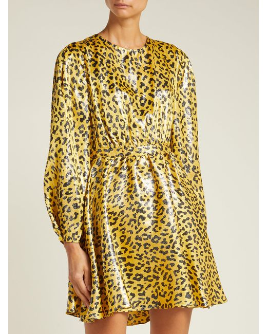 2038d9d93af4 ... Diane von Furstenberg - Yellow Heyford Leopard Jacquard Silk Blend Mini  Dress - Lyst ...