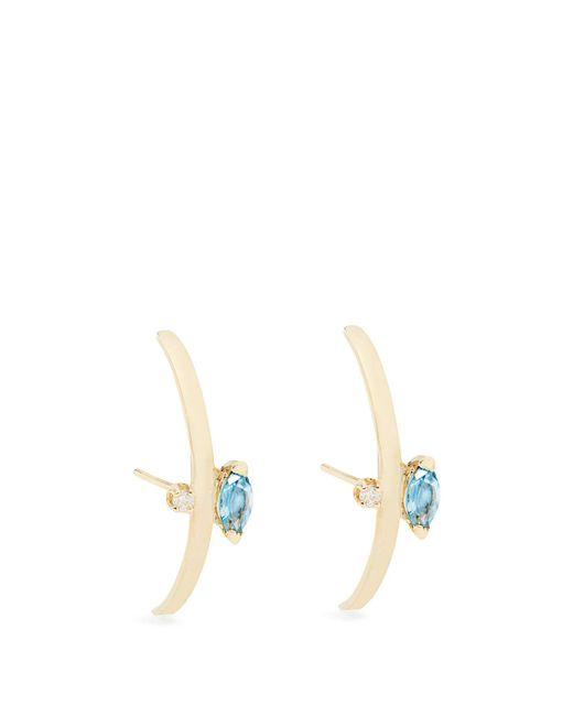 Loren Stewart - Blue Diamond, Topaz And Yellow-gold Earrings - Lyst