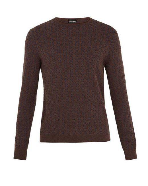 Giorgio Armani - Brown Geometric-intarsia Crew-neck Sweater for Men - Lyst