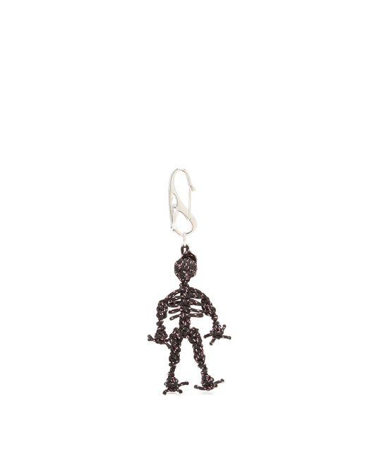 Alexander McQueen - Black Braided Cord Skeleton Keyring for Men - Lyst