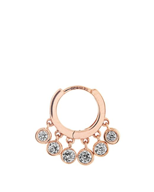 Jacquie Aiche | White Diamond & Rose-gold Earring | Lyst